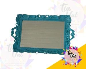 Foto de Bandeja de plastico azul tifany espelhada c/ alça