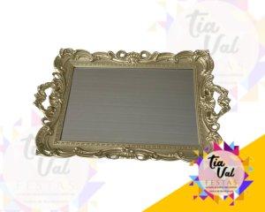 Foto de Bandeja de plastico dourada espelhada c/ alça