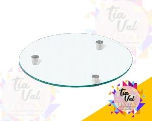 Foto de Bandeja de vidro redonda (pe aço) 40 cm
