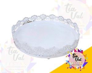 Foto de Cinzelado Branco Bandeja redonda 0,20cm (s/ espelh