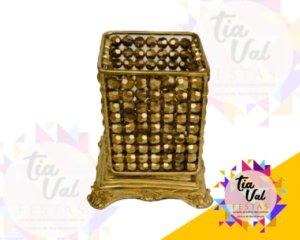 Foto de Cristal dourado cachepoo quadrado (todo dourado)