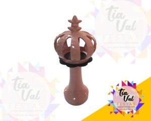Foto de Porcelana rosa pedestal c/ coroa c/ base preta
