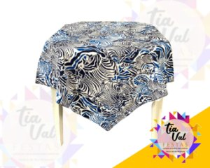 Foto de Toalha quadrada 1,50m azul / listas BRANCAS
