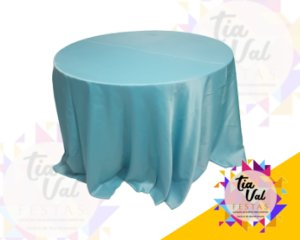 Foto de Toalha redonda grande azul tifany - CETIM