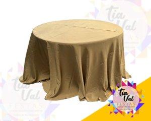 Foto de Toalha redonda grande dourada ouro velho - TAFETA