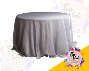 Foto de Toalha redonda grande prata - tafeta