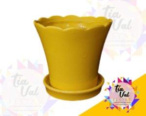Foto de Vaso amarelo c/ prato P( porcelana)