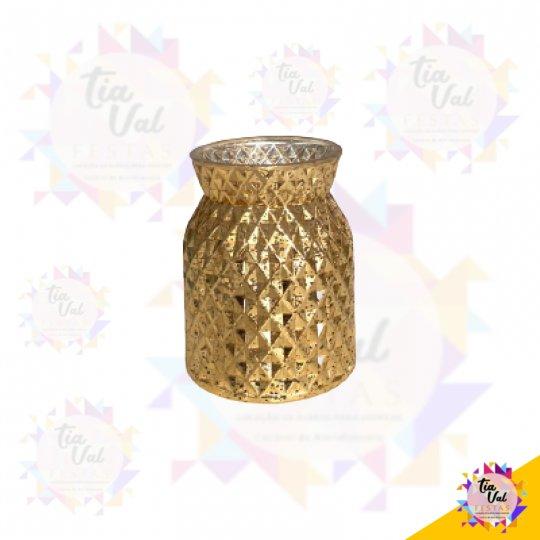 VASO DOURADO GOLD RAJADO PEQUENO (VIDRO)
